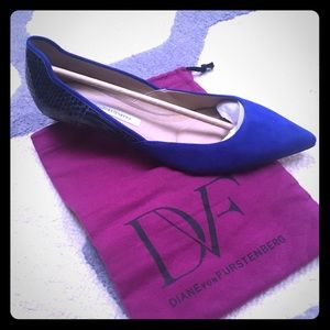 DVF Blue Suede and snake flats